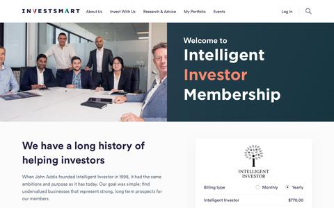 Screenshot of Trial Page investsmart.com.au - Intelligent Investor Membership - captured July 7, 2019