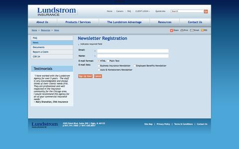 Screenshot of Signup Page lundstrominsurance.com - Newsletter signup - captured Dec. 14, 2015