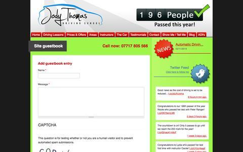 Screenshot of Testimonials Page jodythomasdriving.co.uk - Site guestbook | Driving Lessons Tunbridge Wells Sevenoaks Maidstone Crowborough: Jody Thomas Driving School - captured Nov. 3, 2014