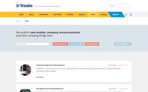 Screenshot of Case Studies Page trimble.com - Land Administration Case Studies - Trimble - captured June 30, 2018