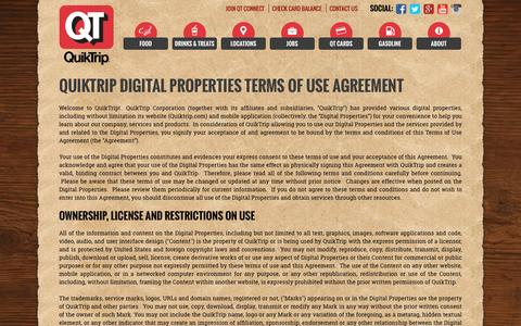 Screenshot of Terms Page quiktrip.com - Terms Of Use - captured Dec. 5, 2016