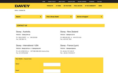 Screenshot of Contact Page davey.com.au - Contact Us - captured Oct. 7, 2018