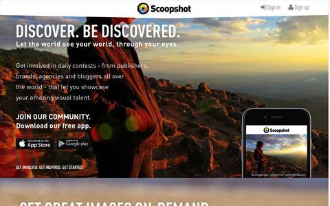 Screenshot of Home Page scoopshot.com - Scoopshot - captured Jan. 26, 2015