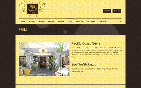 Screenshot of Press Page yellowvase.com - Bakery, Flowers, & Cafe | Yellow Vase | Press - captured Oct. 19, 2018