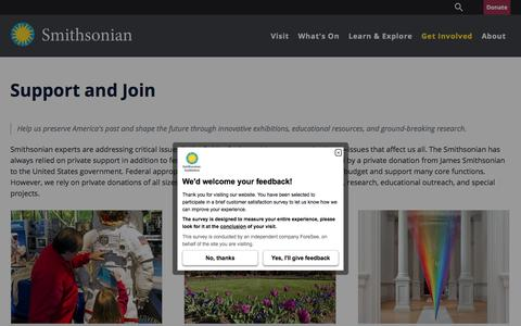 Screenshot of Support Page si.edu - Support and Join| Smithsonian Institution - captured Nov. 17, 2017