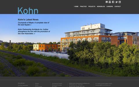 Screenshot of Home Page kohnarchitects.com - Kohn Partnership Architects Inc.   Intelligently Creative Architecture - captured Oct. 6, 2014