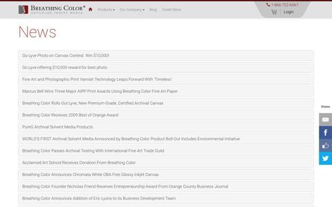 Screenshot of Press Page breathingcolor.com - News - captured July 30, 2016