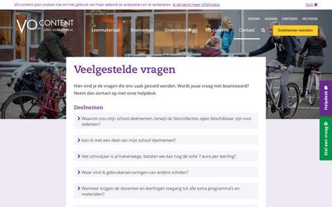 Screenshot of FAQ Page vo-content.nl - Veelgestelde vragen - VO-Content - captured Dec. 2, 2016