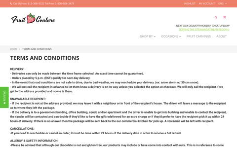 Screenshot of Terms Page fruitcouture.ca - Terms and conditions - Fruit Couture - captured Sept. 1, 2018