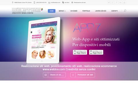 Screenshot of Home Page web-tre.it - Realizzazione siti web | posizionamento siti web - captured Sept. 23, 2014