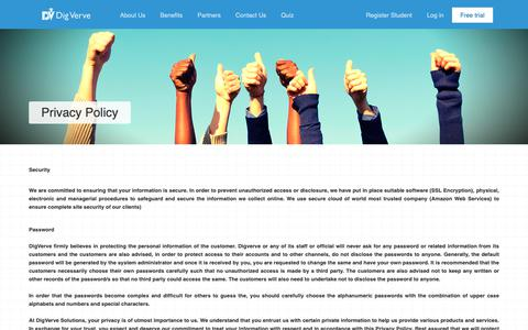 Screenshot of Privacy Page digverve.com - DigVerve •  Blended Learning Management system - captured Oct. 23, 2018