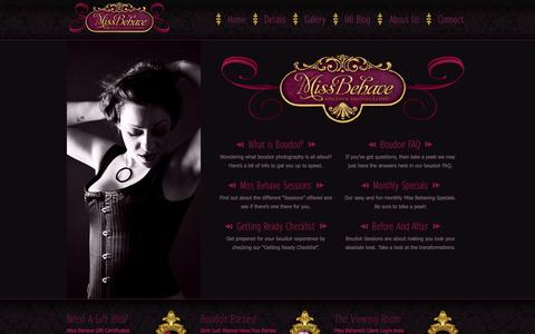 Screenshot of Services Page miss-behave.com - Services | Miss Behave  Boudoir Photography - Calgary, AB. - captured Oct. 7, 2014