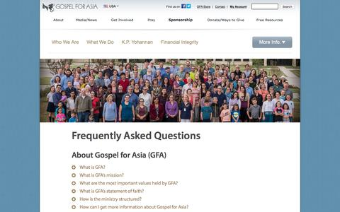 Screenshot of FAQ Page gfa.org - Frequently Asked Questions - Gospel for Asia - captured Jan. 14, 2016
