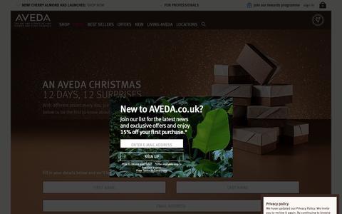 Screenshot of Signup Page aveda.co.uk - Christmas Competition | Sign Up - 12 Days, 12 Surprises | Aveda UK - captured Nov. 15, 2018