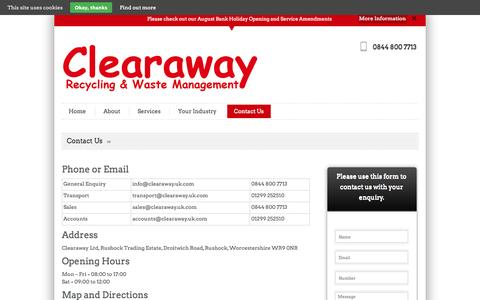 Screenshot of Contact Page clearaway.uk.com - Contact Us | Clearaway - captured Oct. 2, 2014