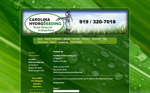 Screenshot of Contact Page carolinahydroseeding.com - Contact Us - Carolina Hydroseeding, Inc - captured Oct. 1, 2014