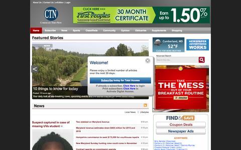 Screenshot of Home Page times-news.com - The Cumberland Times-News - captured Sept. 25, 2014