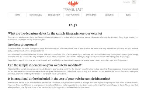 Screenshot of FAQ Page traveleast.in - Frequently Asked Questions (FAQs) - Travel East - captured Oct. 20, 2018