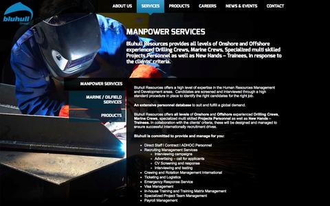 Screenshot of Services Page bluhullgroup.com - Manpower Services - Bluhull Group - captured Oct. 1, 2014