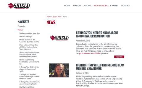 Screenshot of Press Page shieldengineering.com - News   Shield Engineering - captured Feb. 23, 2016