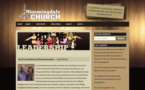Screenshot of Team Page bloomingdalechurch.org - Leadership | Bloomingdale Church - Bloomingdale Illinois - captured June 1, 2017
