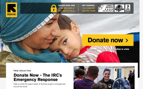 Screenshot of Landing Page rescue.org - Donate Now - The IRC's Emergency Response | International Rescue Committee - captured Nov. 27, 2016