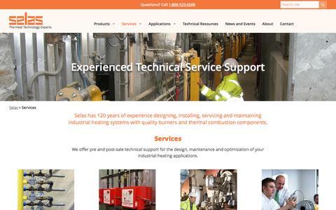 Screenshot of Services Page selas.com - Selas Industrial Heating System Design, Install, Maintenance Services - captured Nov. 29, 2016