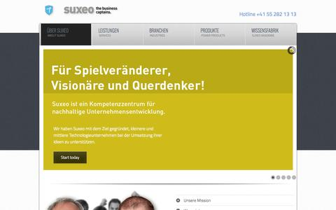 Screenshot of Home Page suxeo.com - About suxeo - Consulting - Unternehmensberatung - Strategieplaner - Geschäftsmodell Architekten - captured Oct. 7, 2014