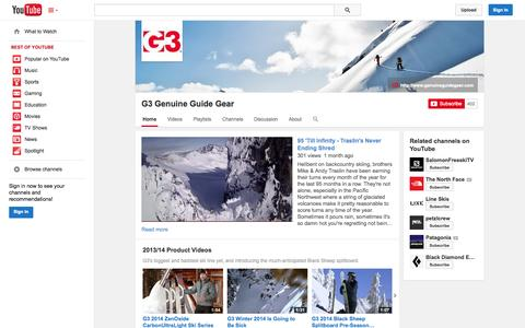 Screenshot of YouTube Page youtube.com - G3 Genuine Guide Gear  - YouTube - captured Oct. 22, 2014