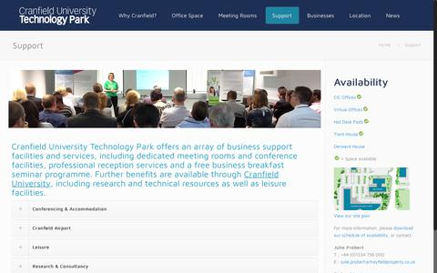 Screenshot of Support Page cranfieldtechnologypark.co.uk - Support | Cranfield University Technology Park - captured Sept. 30, 2018