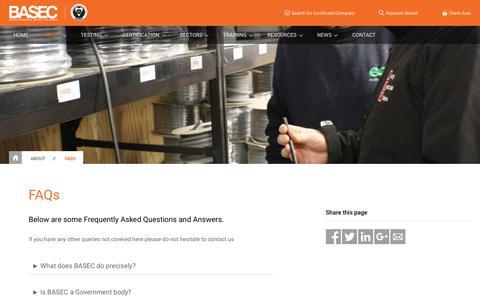 Screenshot of FAQ Page basec.org.uk - FAQs | BASEC - captured July 24, 2018