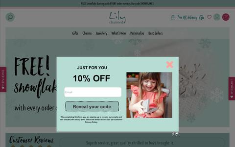 Screenshot of Home Page lilycharmed.com - Lily Charmed | Unique Sterling silver jewellery designed in the UK - captured Dec. 8, 2018