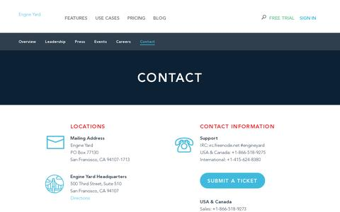 Screenshot of Contact Page engineyard.com - Contact Engine Yard - captured July 20, 2014
