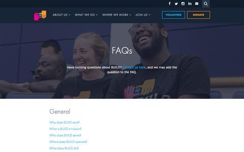 Screenshot of FAQ Page build.org - FAQs   BUILD - captured Dec. 28, 2015