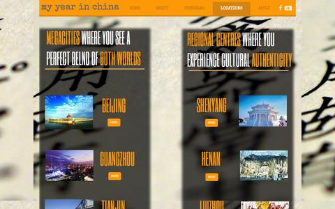 Screenshot of Locations Page myyearinchina.org - LOCATIONS - My Year in China Cultural Exchange - captured Oct. 1, 2014