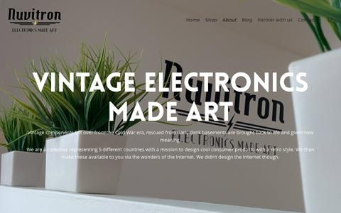 Screenshot of About Page nuvitron.com - Vintage Electronics made art | About Nuvitron - captured Jan. 11, 2016