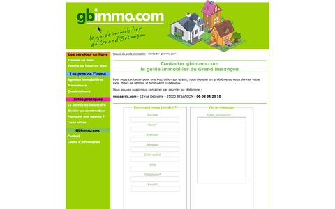 Screenshot of Contact Page gbimmo.com - Contacter gbimmo.com : le guide immobilier du Grand Besançon - captured June 2, 2016