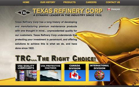 Screenshot of Home Page texasrefinery.com - Texas Refinery Corp - captured Oct. 8, 2014