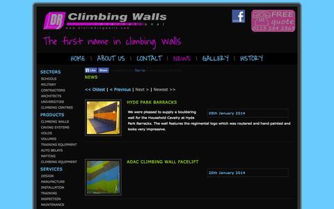Screenshot of Press Page drclimbingwalls.com - DR International Climbing Walls | Design, Supply and Manufacture - captured Oct. 5, 2014