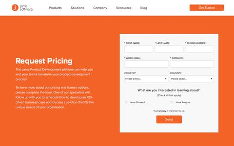 Screenshot of Pricing Page jamasoftware.com - Pricing and License Options | Jama Software - captured July 7, 2018