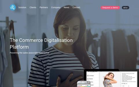 Screenshot of Home Page socloz.com - SoCloz - The Commerce Digitalisation Platform - captured Oct. 11, 2017