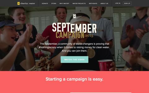 Screenshot of Home Page charitywater.org - charity: water | Clean Drinking Water for Developing Countries - captured Sept. 5, 2015