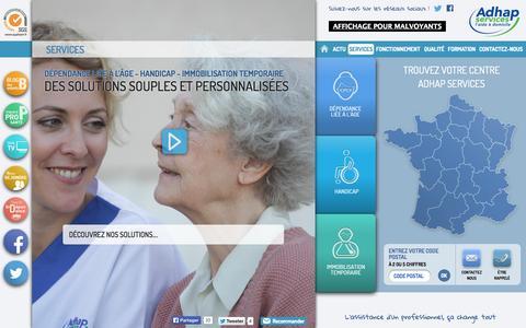 Screenshot of Services Page adhapservices.fr - Adhap Services | Aide et maintien à domicile - captured Sept. 24, 2014