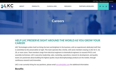 Screenshot of Jobs Page lkc.com - Careers - LKC Technologies - captured July 10, 2017