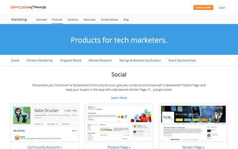Screenshot of Products Page spiceworks.com - Products for Tech Marketers | Spiceworks - captured Oct. 1, 2015