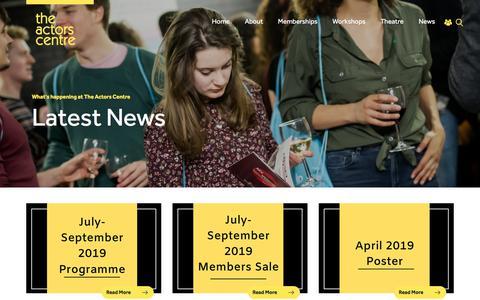 Screenshot of Press Page actorscentre.co.uk - News   The Actors Centre - captured July 4, 2019