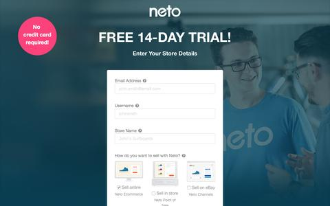 Screenshot of Trial Page neto.com.au - Free Trial Sign Up - captured Sept. 19, 2016