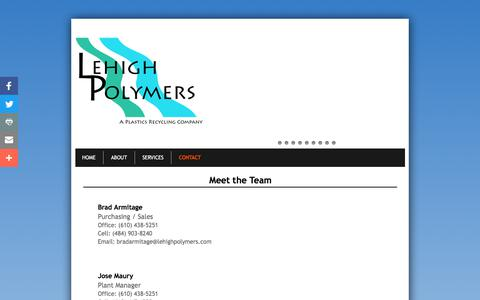 Screenshot of Privacy Page Contact Page lehighpolymers.com - Contact - captured July 18, 2018