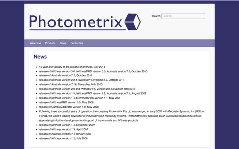 Screenshot of Press Page photometrix.com.au - News   Photometrix - captured Sept. 29, 2014