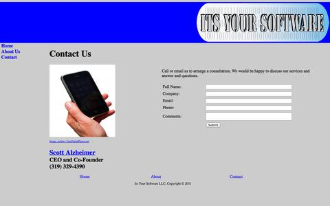Screenshot of Contact Page itsyoursoftware.com - Its Your Software - captured Oct. 6, 2014